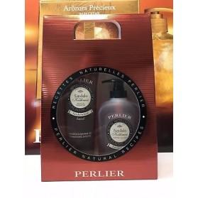 Perlier Cofanetto Sandalo Doccia Shampoo 250 ml e Sapone liquido 300 ml